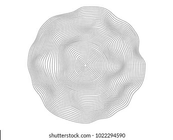Abstract black dots flowing wave surface of circle lines isolated on white background for design element, banner, technology background