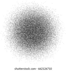 Abstract black dust of round shape isolated on white background. Spraying of fine particles. Vector illustration. EPS 8