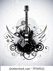 Abstract with black electric guitar
