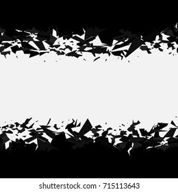 Abstract black explosion on white background. Horizontal seamless pattern. Vector illustration