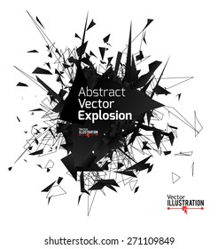 Abstract black explosion. Vector illustration.