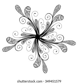 Abstract black floral background pattern. Template poster with doodle flowers.