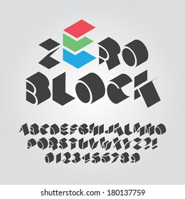 Abstract Black Font and Numbers, Eps 10 Vector