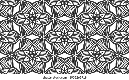 Abstract black geometric floral seamless pattern. Trendy ornate shape fabric print texture. Fashion retro style flower carpet ornament tile vintage decorative hexagonal monochrome wallpaper background