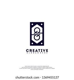 abstract black geometric rectangle QQ logo letter monogram design concept