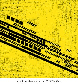 Abstract black geometric shapes on yellow background. Poster, for different use.