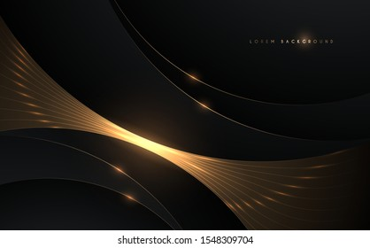 Abstract black and gold glow circle background