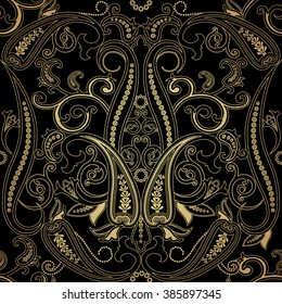 Abstract Black and gold seamless with paisley. Floral background c oriental motifs. Vector illustration