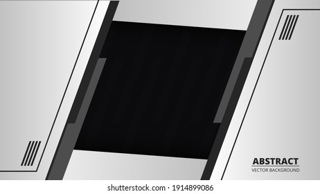 Abstract black and gray background with grey line on blank space. Futuristic modern technology bright banner. Ratio 1920x1080 full hd, vector illustration.