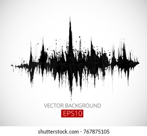 Abstract black grunge background with amplitude modulation. Spectrum analyzer, music equalizer, sound wave. Vector illustration