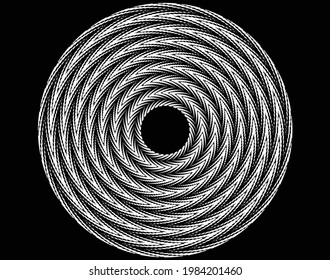 abstract black halftone dots.white halftone dots in vortex form. Geometric art. Trendy design element.Circular and radial lines volute, helix.Segmented circle with rotation