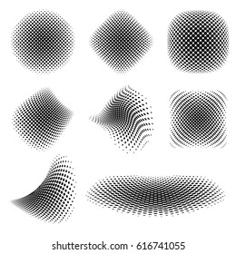 Abstract Black Halftone / Vector Set of Isolated