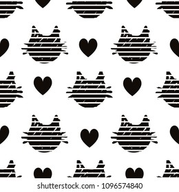 abstract black heads of cats pattern on white background with hearts