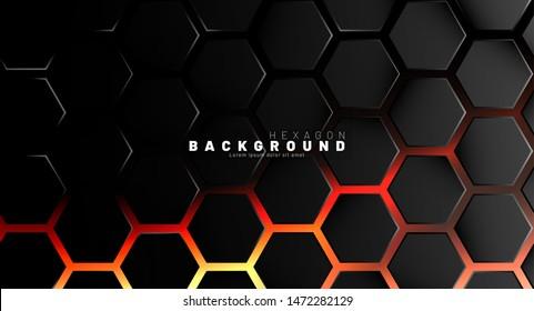 Abstract black hexagon pattern on neon gradient orange background technology style. Honeycomb. Vector illustration