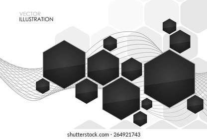 Abstract black hexagon. Vector Illustration. Clip-art
