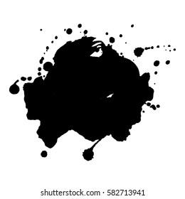 Abstract black ink blot background. Vector illustration.