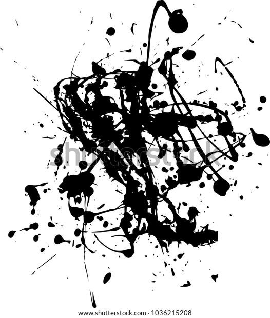 Abstract Black Ink Splash Background Grunge Stock