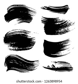 Abstract black ink strokes set isolated on white background
