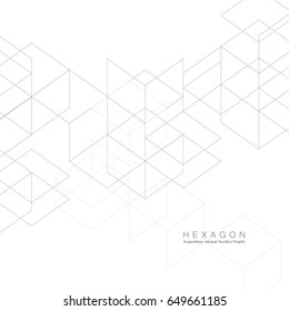 Abstract Black Line Pattern Hexagon. Creative Minimalistic Design.
