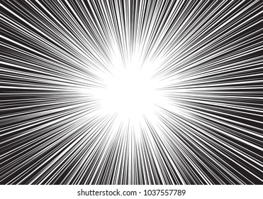 Abstract black line radial zoom light speed center on white for cartoon comic background vector illustration.