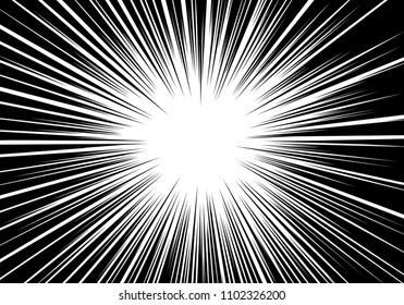 Abstract black line radial zoom speed monochrome for comic cartoon background vector illustration.