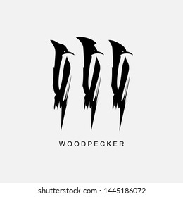 Abstract, black logo woodpecker, birds. Hand drawn. Modern design. Fashionable children's print for clothes, cards, banners for photo sites. Vector illustration