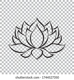 Abstract black lotus flower silhouette isolated on transparent background