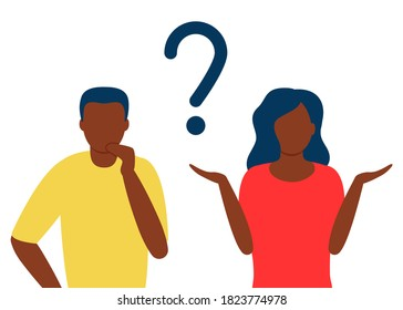 Abstract black man and woman with question mark. People solve problem, choose solution. Concept of dispute, conflict, deadlock. People asks questions. Think, trouble, worried, confused human. Vector
