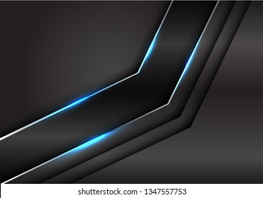Abstract black metallic silver line blue light arrow on dark metal design modern luxury futuristic background vector illustration.
