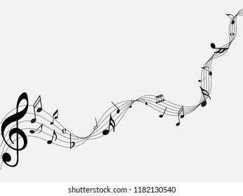 Abstract black music notes on line wave background. Black G-clef and music notes isolated vector illustration Can be adapt to Brochure, Annual Report, Magazine, Poster, Corporate Presentation,