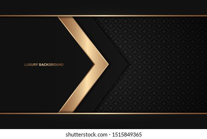 Abstract black overlapping background a combination with light golden decoration. Luxury and modern paper cover background for use frame, cover, banner, corporate, card