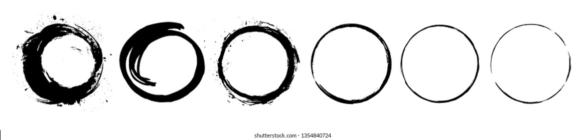 Abstract black paint brushstroke circles pack. Enso zen ink brush style symbol set. Buddhism, oriental sign vector illustration. Sumie style round shapes. Grunge hand drawn circular frames