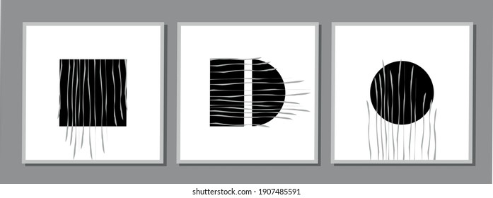 abstract black paintings with geometric shapes with wavy lines