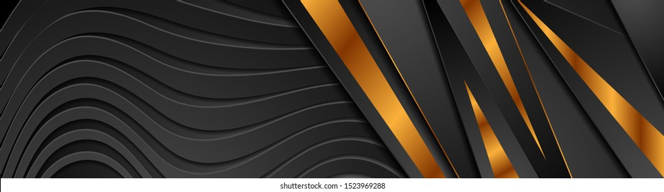 Abstract black papercut waves and bronze stripes banner design. Golden deluxe background. Vector illustration design