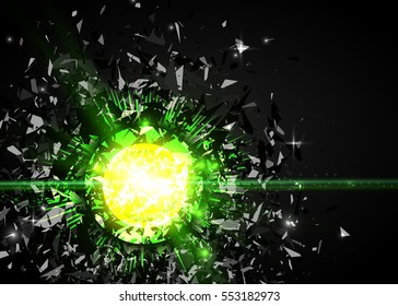 Abstract black particles explosion. Vector background