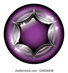 Abstract black and purple background with a silver frame, with space for your text. Vector illustration, on transparent background
