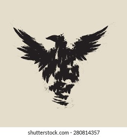 abstract black raven illustration with the wings