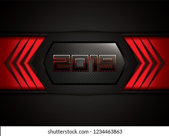 Abstract black and red background with 2019 text, vector illustration