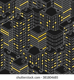 Abstract black seamless pattern. Isometric building at night.  Linear style. The outlines of skyscrapers. Houses with Windows. Light in the Windows. City street. Vector illustration.