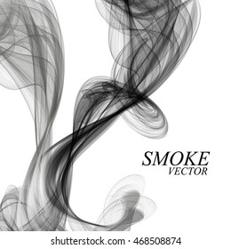 Abstract black smoke on white background, vector illustration eps 10