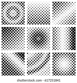 Abstract Black square Halftone / Vector Set of Isolated