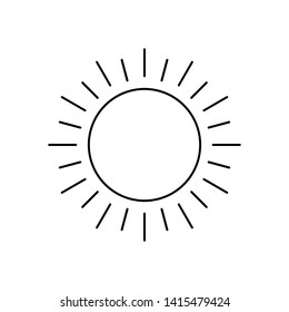 Abstract black sun thin line icon with rays isolated on white background