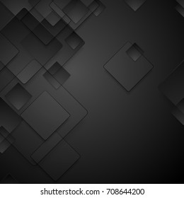Abstract black tech geometric squares vector background