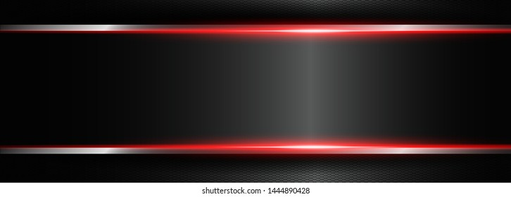 Abstract black technology concept design. Vector template background , abstract metallic red black frame layout design tech innovation concept background
