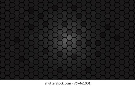 Abstract black texture background hexagon. gradient effect
