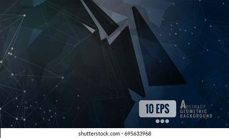 Abstract black triangle shape on dark low poly BG with connected dots