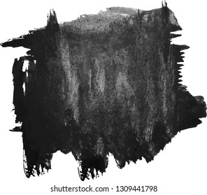 Abstract black watercolor hand paint texture, isolated on white background, watercolor textured backdrop, watercolor drop, traced, vector eps 10