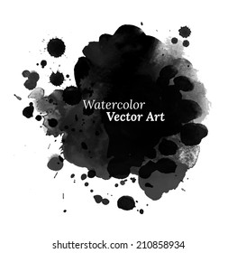 Abstract black watercolor texture. Vector. Isolated.