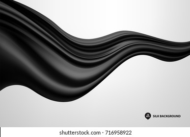 Abstract black wave silk or satin fabric on white background for grand opening ceremony or other occasion
