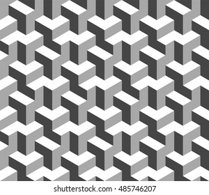 Abstract black and white 3d geometric seamless pattern. Optical illusion 3d shapes. Vector 10 EPS illustration.